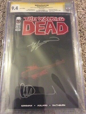Walking Dead 100 Red Foil Lucille Cgc Ss 9.4. Signed By Kirkman And Adlard