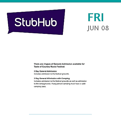 taste of country music festival 3 day pass featuring eric church, sa...  hunter