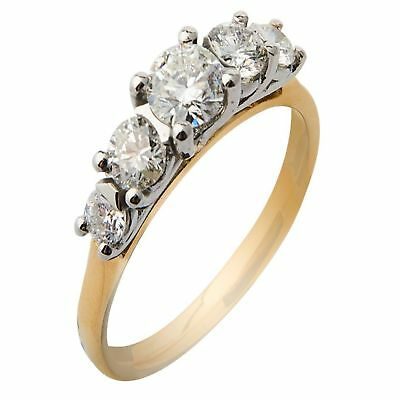 Pave 1.40 Cts Natural Diamonds Engagement Ring In Solid Hallmark 14k Yellow Gold