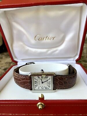 cartier tank solo ladies stainless steel brown leather strap