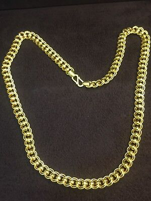 Stylish Heavy 9 Mm Dubai Unisex Chain Necklace In Solid Hallmark 22k Yellow Gold