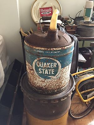 Vintage Quaker State 5 Five Gallon Can Wood Handle Man-cave Advertising