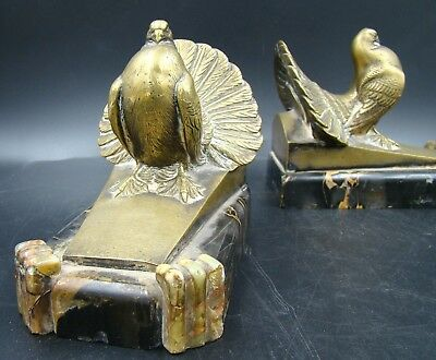 Art Deco French Bronze & Marble Figural Bird Bookends By Maurice Frecourt Ca1930