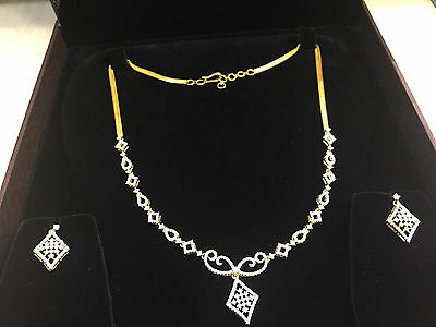 Pave 2.35 Cts Natural Diamonds Necklace Earrings Set In Solid Hallmark 14k Gold