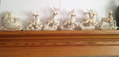 Lenox For The Holidays Dash Away All Santa And His Reindeer; 6 Pc Original Boxes