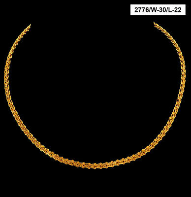 22 Kt Solid Yellow Hallmark Gold Necklace Iced Out Chain 28 Gms 20