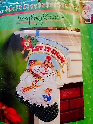 Bucilla 18in Mary Engelbreit Let It Snow Christmas Stocking Kit New  #86650