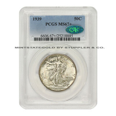 1939 50c Walking Liberty Silver Half Dollar Pcgs Ms67+ Cac Certified Gem Coin