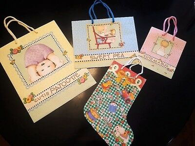 Mary Engelbreit Gift Bags - 1 Christmas Baby Stocking Bag & 3 Baby Gift Bags