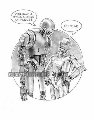 C3po And K2so Star Wars Original Art W/coa By Dave Nestler