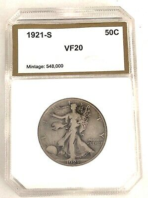 1921-s, Vf-20, Walking Liberty U.s. Silver Half Dollar- See Other Rare Coins