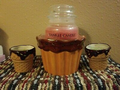 Yankee Candle Ice Cream Waffle Cone Holder Lot New With New Candles. Super Cute!