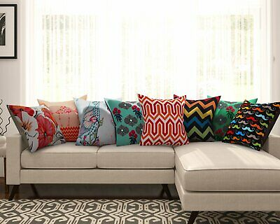 Multi-color Abstract Pattern Cushion Covers Waist Throw Pillow Cover Set Of 8