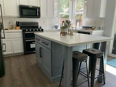 """*64"""" Gray Color Kitchen Island With White Counter Top (us Made)*"""