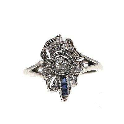 jewelled ribbon and bow  art deco 14k diamond and sapphire ring