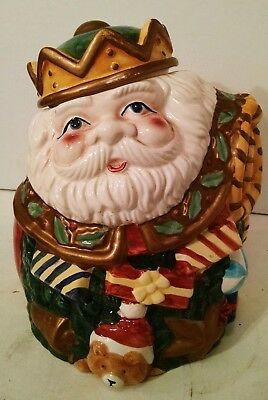"Gibson Housewares Christmas Santa Clause Cookie Jar 11"" Tall Ceramic 9"" Wide"