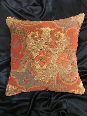 """Vintage Ralph Lauren Wool Plaid & Tapestry Throw Pillow Cover Only! 17"""" X 17"""""""