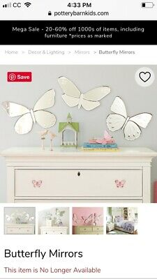 Pottery Barn Kids Butterfly Mirow Set !! All 3 Of Them Retired Sold Out!!
