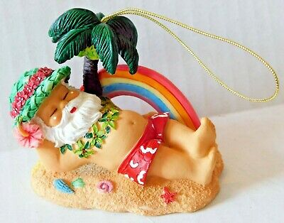Hawaiian Santa On Beach With Palm Tree And Rainbow Ornament