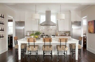 * 7ft White Kitchen Island With White Quartz Counter Top Made In Us*