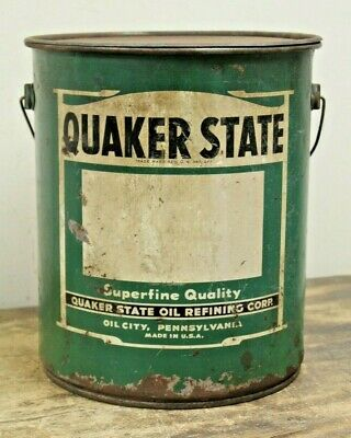 Vintage Quaker State 5 Gallon Motor Oil Can Bucket
