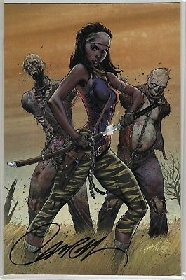 The Walking Dead 19 Image Campbell Signed Coa  First Michonne 2018 Kirkman Rick