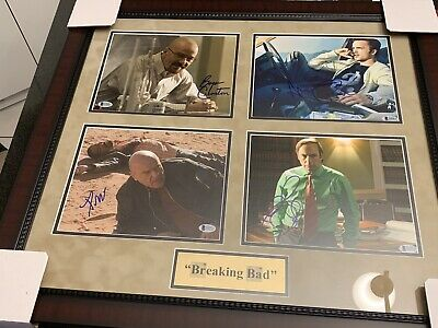 Breaking Bad Cast Auto Signed Framed Photo Collage Bryan Cranston Aaron Paul ++