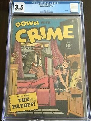 Down With Crime #7 Cgc 3.5 Ow-w 1952 Classic Gas Mask Lingerie Cover Sandman