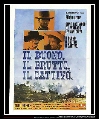 """the good the bad the ugly 55"""" x 78"""" italian movie poster rerelease 1968"""