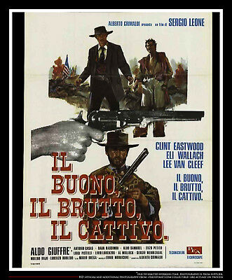 """good bad and ugly 39"""" x 55"""" italian two sheet movie poster rerelease 1966"""
