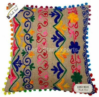 Jute Suzani Cushion Cover Embroidered Square Pillow Case Vintage Throw Cushions