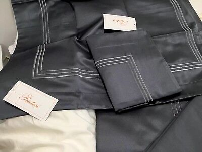 $2300 Pratesi Italy Nwt 3pc King Duvet Set 3 Line Embroidery Platinum Lurex