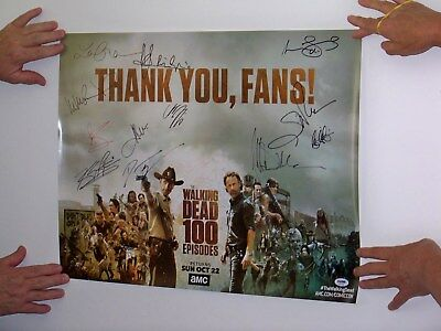 2017 Sdcc The Walking Dead Signed Poster, Great Shape, 12 Signed, Psa
