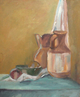 Vintage Impressionist Oil Painting Still Life With Pitcher, Bowl And Fruits
