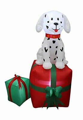 5 Foot Tall Christmas Inflatable Dalmatian Puppy Dog On Gift Box Outdoor