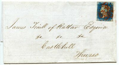 Scarce 1840 Cover With 2d Blue Pl 1, From Wick Addressed To Thurso With Red Mc