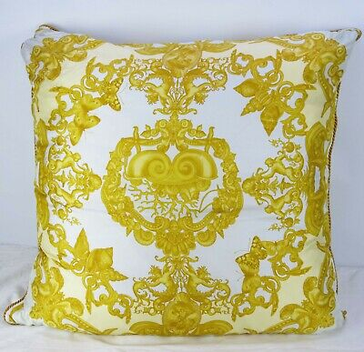 Mint Very Large Versace 100% Silk Decorative Throw Pillow Baroque 90cm