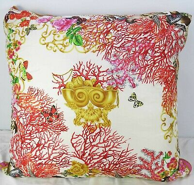 Mint Very Large Versace 100% Silk Decorative Throw Pillow Coral 90cm