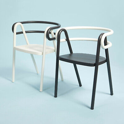 Contemporary Chair, Bent Steel Tubes And Plywood Seat, Set Of Two, Black