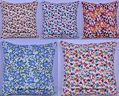 100 Pc Wholesale Lot Cotton Floral Print Quilted Indian Cushion Cover Sofa Throw