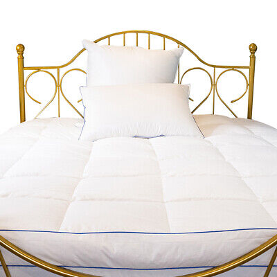 Hotel Quality Down Blend Mattress Topper Quilted Construction Pillow Comforter