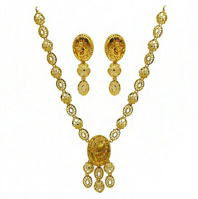 Fine Jewelry 22 Kt Real Solid Hallmark Yellow Gold Necklace Earrings Women