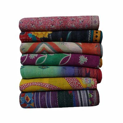 Indian Vintage Kantha Quilt Wholesale Lot Reversible Handmade Blanket Throw 01