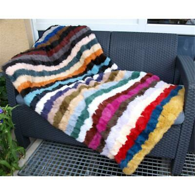 Fur Cover Bedspread Real Fur Bed Throw Couch Sofa Kanin Pattern Multicoloured