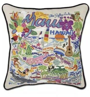 Cat Studio Maui Hawaii Pillow 20x20  Throw Pillow Embroidered New With Tags