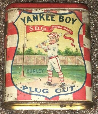 Vintage Yankee Boy Plug Cut Pocket Tobacco Tin Can Advertising Baseball Burley
