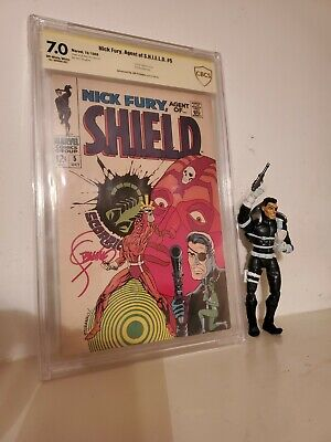Nick Fury Agent Of Shield 5 1968 Marvel Comic Signed Steranko Cbcs 7.0 Ow To W