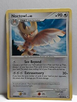Noctowl 34/130 Diamond & Pearl Pokemon Used Rare Damaged Please See Pictures