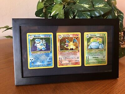 Charizard Blastoise Venusaur Holo Base Set 2 Pokemon Cards Framed w/ Swirl