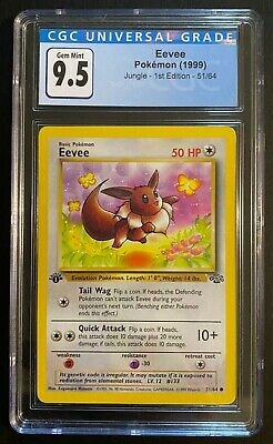 Eevee 1st Edition Jungle Gem Mint 9.5 CGC PSA 10 Pokemon 1999 #51